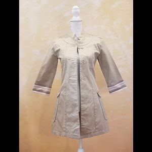 Folded & Hung Beige Button Up Trench Coat